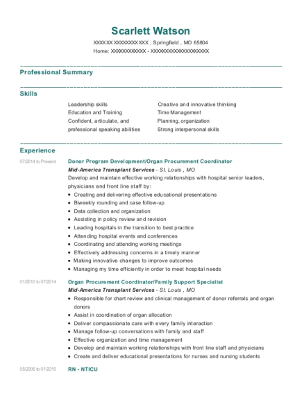 Donor Program Development resume sample Missouri