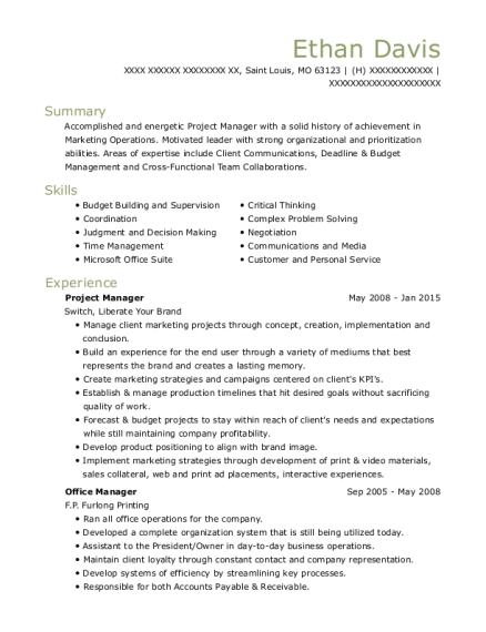 Project Manager resume sample Missouri