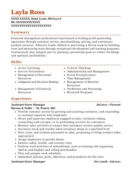 Assistant Store Manager resume format Missouri