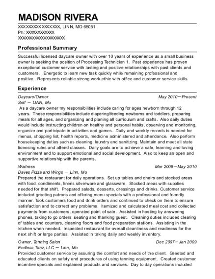 Daycare resume format Missouri