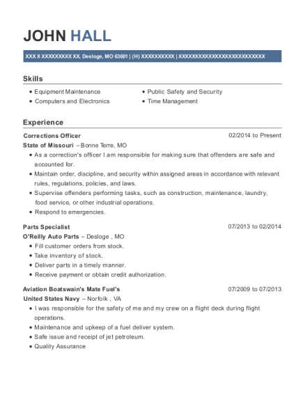 Corrections Officer resume format Missouri