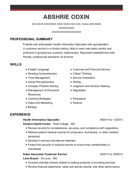 Health Information Specialist resume sample Missouri