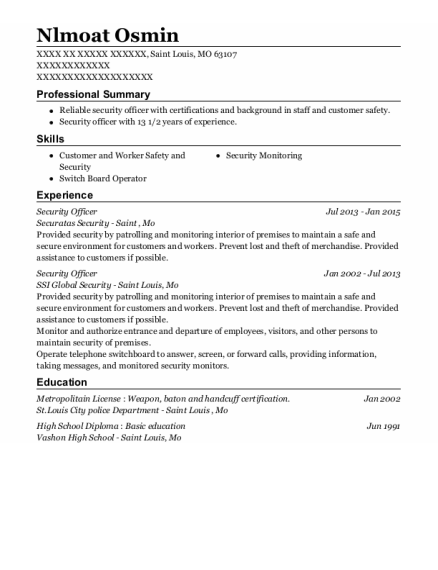 Security Officer resume format Missouri