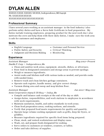 Assistant Manager resume example Missouri