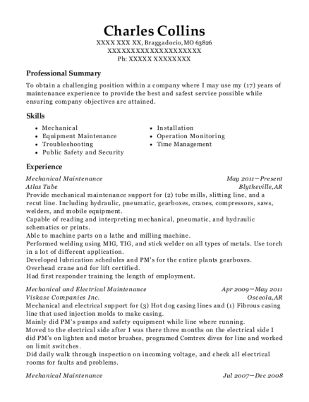 Mechanical Maintenance resume sample Missouri