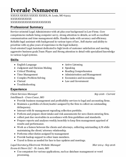 Client Services Manager resume example Missouri