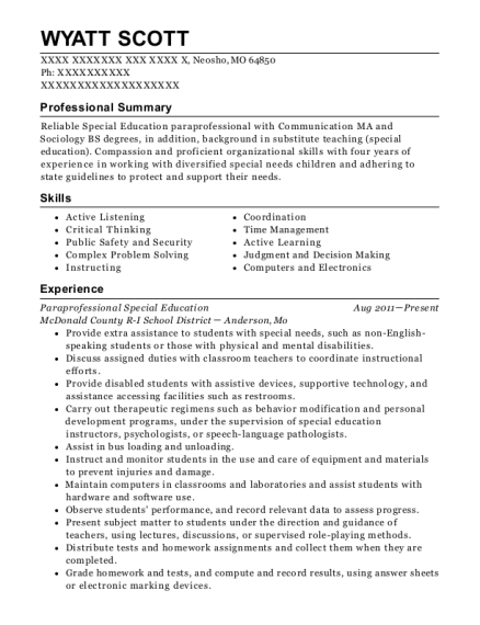 Paraprofessional Special Education resume template Missouri