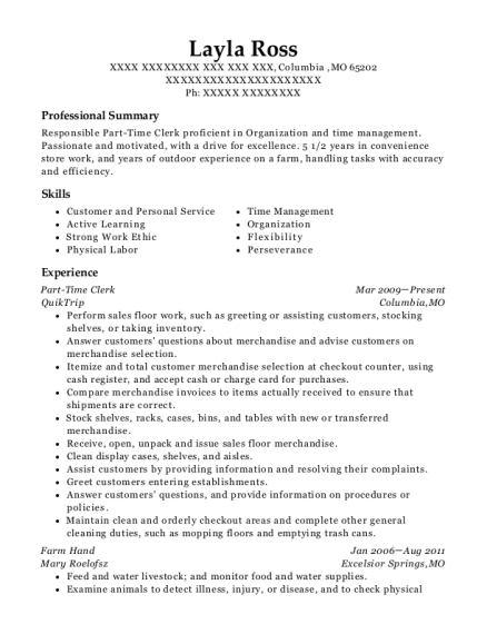 Part Time Clerk resume format Missouri