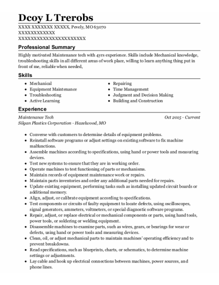 Maintenance Tech resume format Missouri