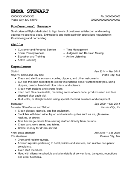 Stylist resume example Missouri