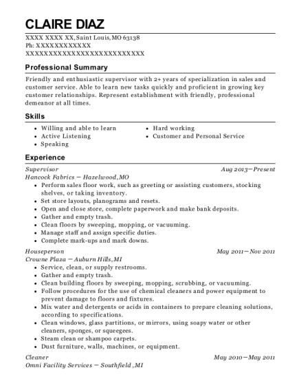 Supervisor resume sample Missouri