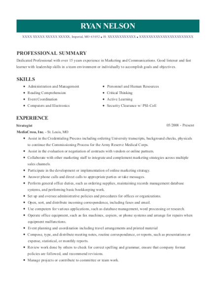 Strategist resume example Missouri