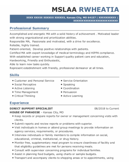 Direct Support Specialist resume format Missouri