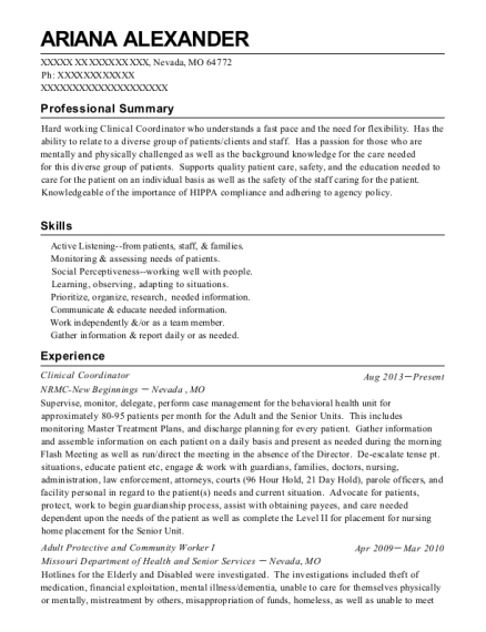 Clinical Coordinator resume template Missouri