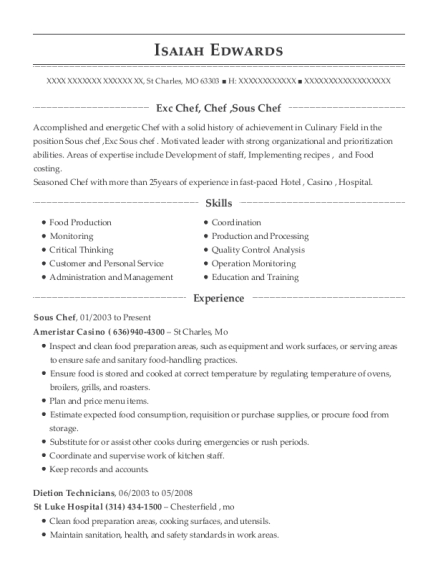 Sous Chef resume template Missouri