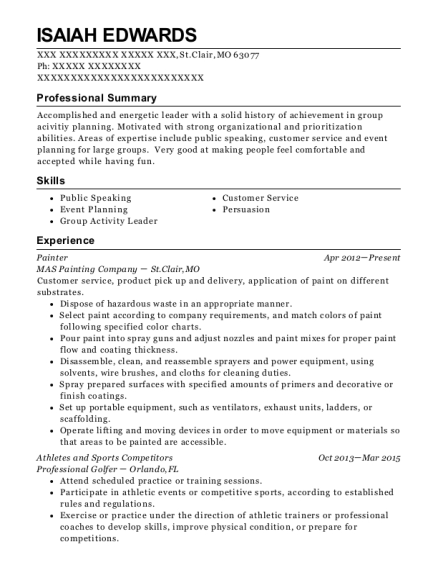 Painter resume example Missouri