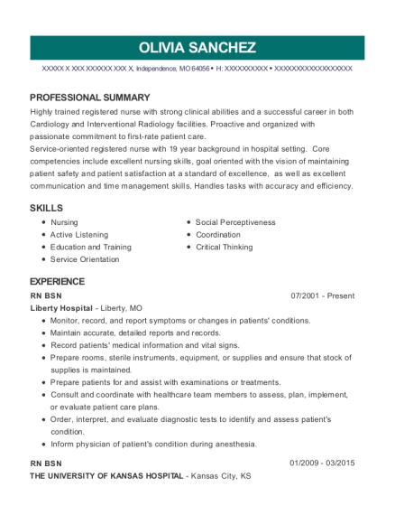 RN BSN resume template Missouri