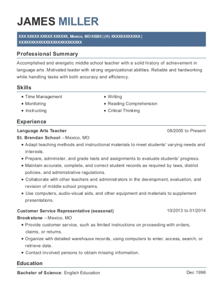 Language Arts Teacher resume sample Missouri