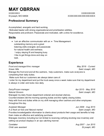 Front End Manager resume template Missouri