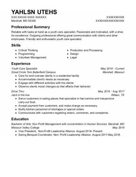 Youth Care Specialist resume example Missouri
