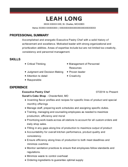 Executive Pastry Chef resume format Missouri