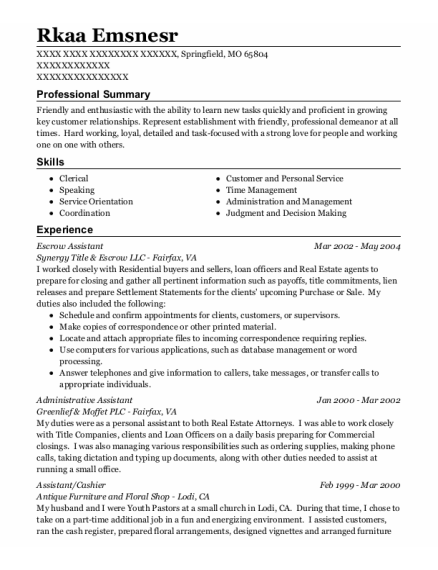 Escrow Assistant resume example Missouri