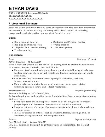 Driver resume template Missouri