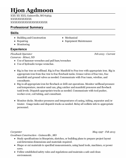 Flowback Operator resume example Missouri