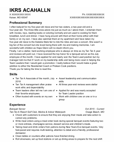 Banquet Server resume template Missouri