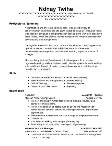 RECRUITER resume example Missouri