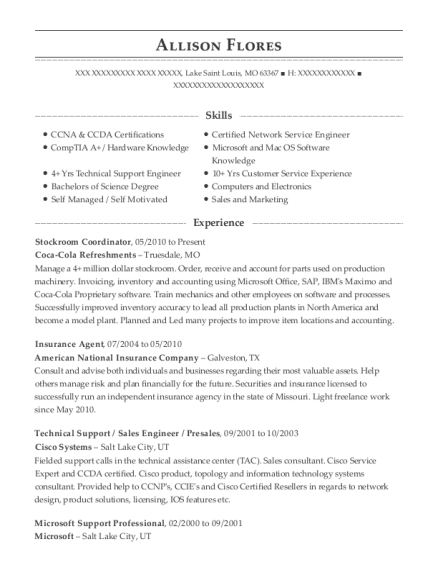 Stockroom Coordinator resume template Missouri