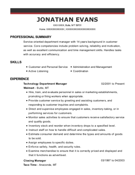 Technology Department Manager resume sample Montana