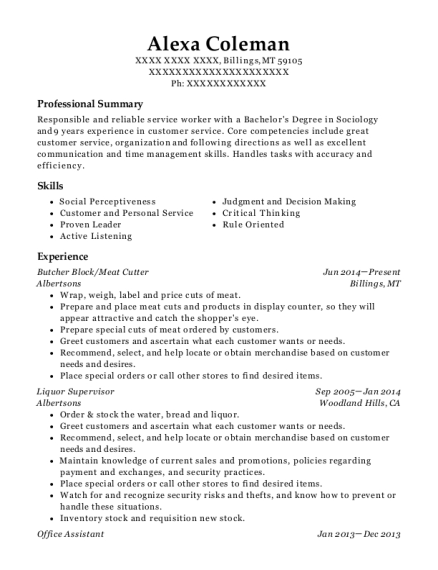 Butcher Block resume template Montana