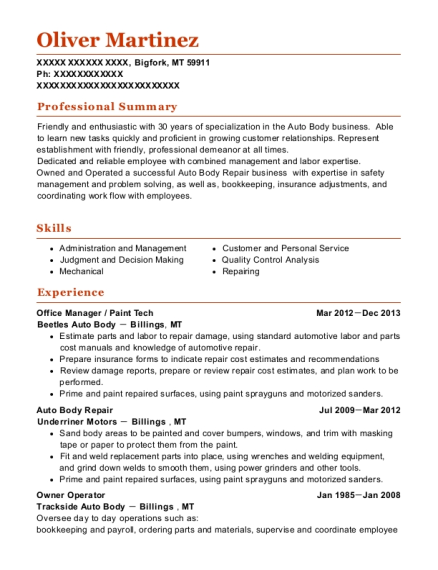 Office Manager resume sample Montana