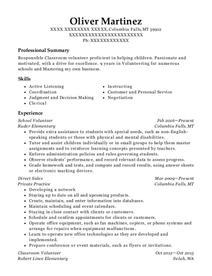 School Volunteer resume example Montana