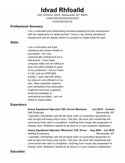 Heavy Equipment Operator resume template Montana