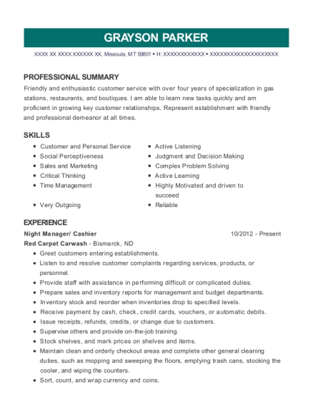 Night Manager resume template Montana