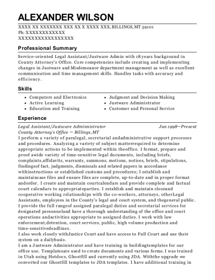 Legal Assistant resume example Montana