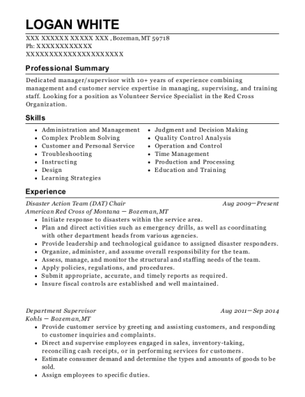 Disaster Action Team Chair resume example Montana