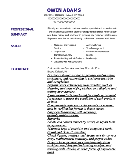 Customer Service Specialist resume example Montana