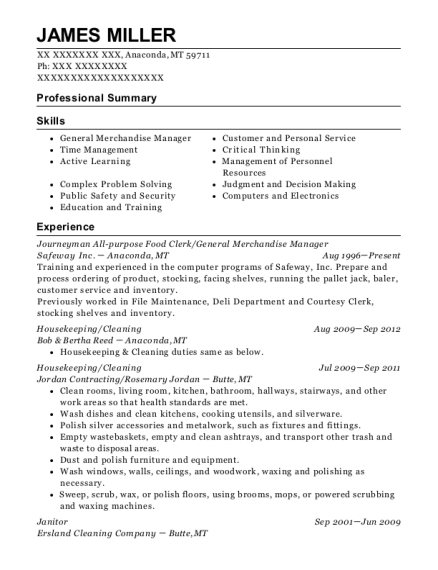 Journeyman All purpose Food Clerk resume format Montana