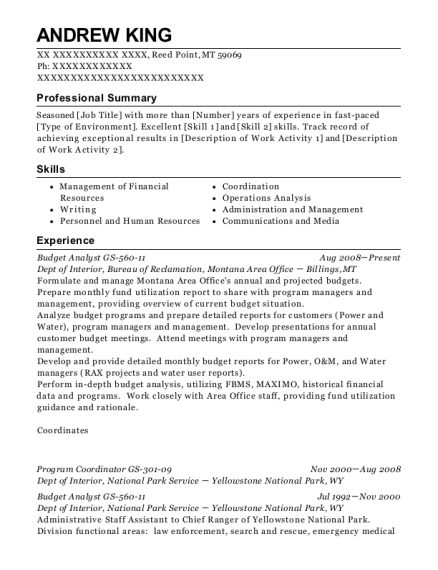 Budget Analyst GS 560 11 resume sample Montana