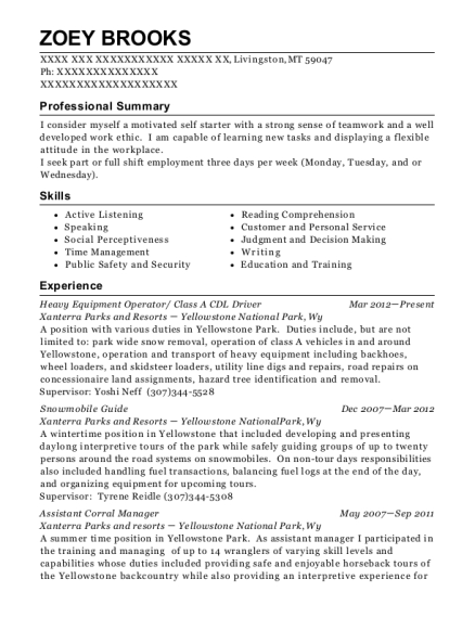 Heavy Equipment Operator resume example Montana