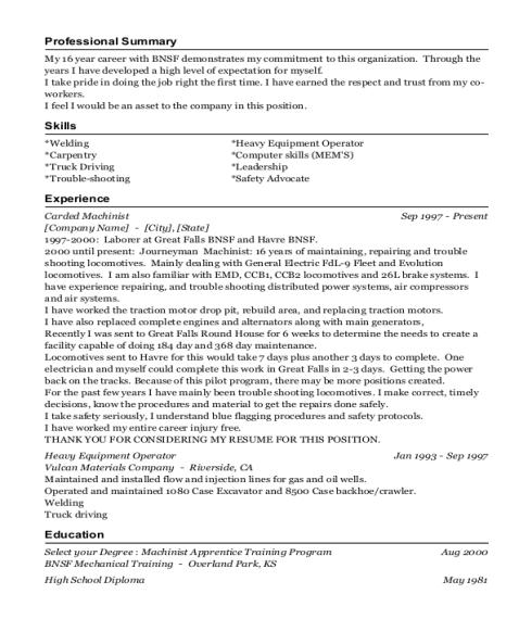 Carded Machinist resume example Montana