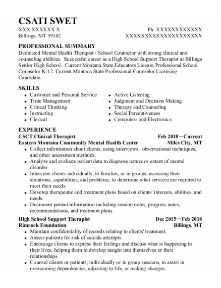 Intensive Case Manager resume template Montana
