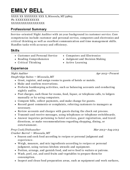 Night Auditor resume sample Montana