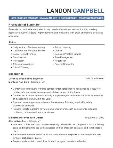 Certified Locomotive Engineer resume sample Montana