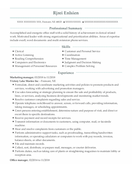 Digital Marketing Manager resume template Nebraska
