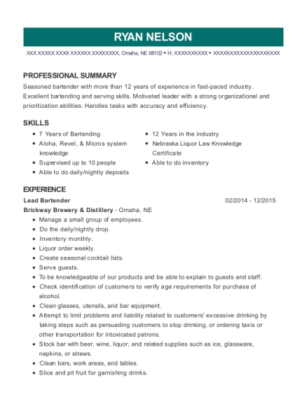 Lead Bartender resume sample Nebraska