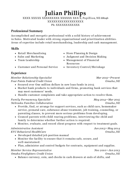 Member Relationship Specialist resume sample Nebraska